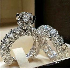 🌹 Stunning White Sapphire Wedding Set in .925